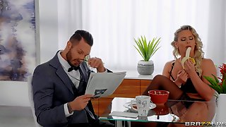 Curvy Housewife Phoenix Marie Seduces Suited Guy On Her Kitchen