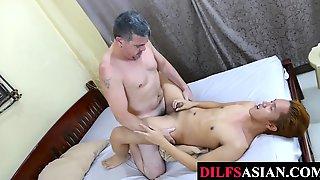 Dilf Pounding Asian Twink Ass After Dildo Fucking In Duo