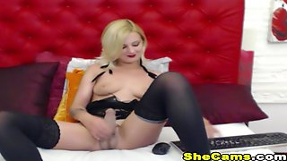 Blonde Shemale Masturbate Her Hard Cock