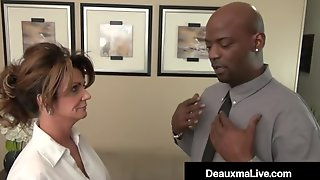 Huge Boobs In Huge Booby Milf Boss Deauxma Stuffs Her Mature Muff With Big Black Cock!