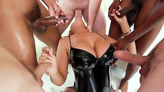 Many Big Cocks Attack Deep Throat Of Super Hot Busty Porn Model Bridgette B