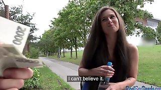Brunette Babe Rides In Public For Cash