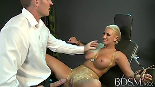 Master Straps Submissive Girl To A Gyno Chair
