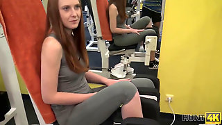 HUNT4K. Adorable Female Instead Of Teaching Has Sex In Gym