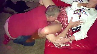Wifes Panty Clad Hairy Pussy Eaten By Brett