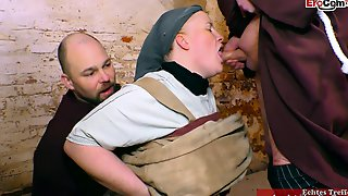 New Friar Welcomed In Church With A Hot Fuck With A Cleaning Lady