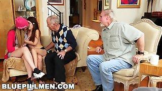 BLUE PILL DUDES - Arnie Berke Gets His Geriatric Mind Blown By Teens Vanessa Phoenix And Gigi Flamez