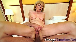 Dirty Gilf Spreads Legs For Young Cock
