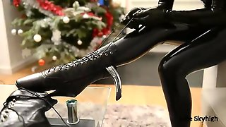 Smokin Sexy Lady In A Latex Dress And Shoes With Stiletto Heels, Julie Skyhigh Is Masturbating