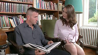 Guy Drives His Dick Into The Hot Librarian Right On Her Desk