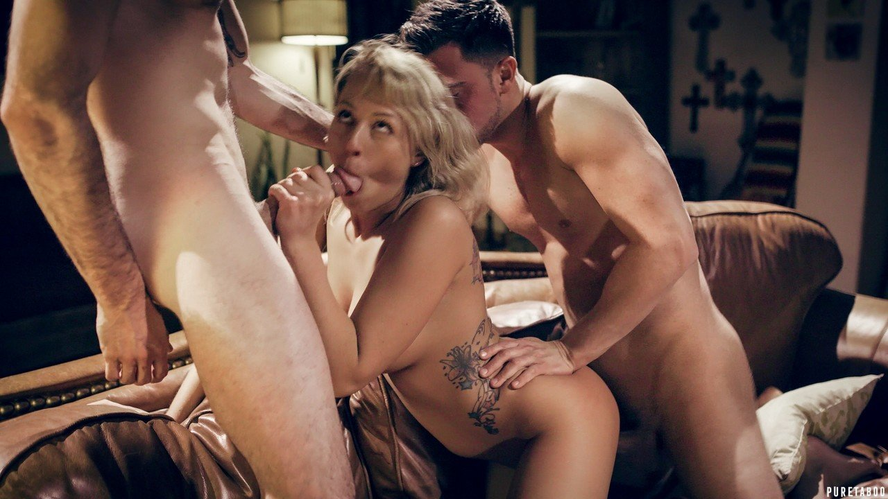 Blonde chick Zoey Monroe sucks the cum from dicks after MMF sex with brothers
