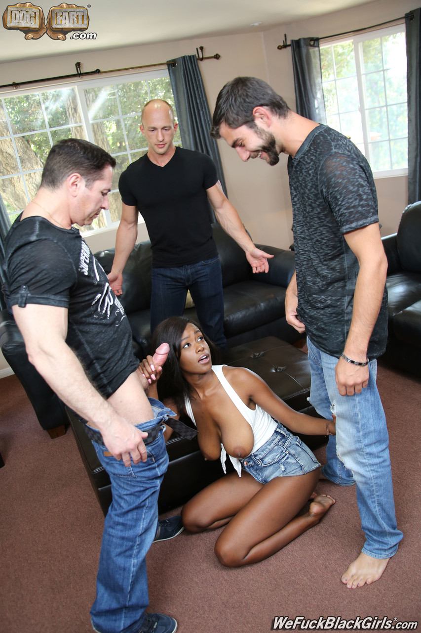 Black girl with nice tits Jezabel Vessir gets gangbanged by white males