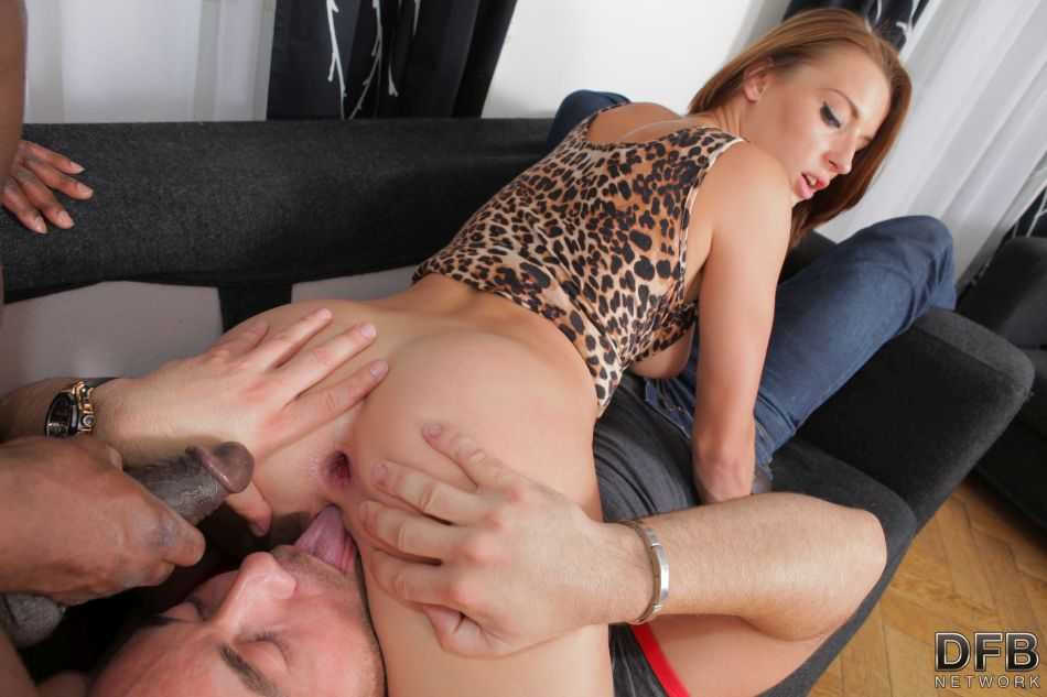 Redhead wife Victoria Daniels takes it in all 3 holes from a BBC afore her man