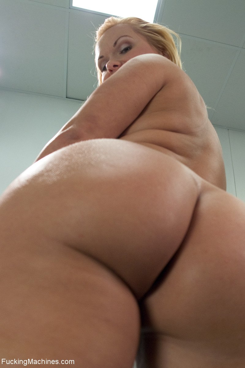 Horny MILF Katja Kassin double penetrated by machine dildo while bending over