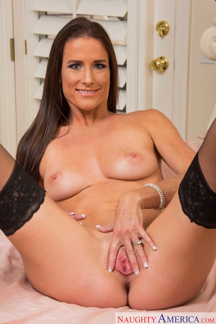 Brunette cougar Sofie Marie strips her lingerie and spreads her pink twat
