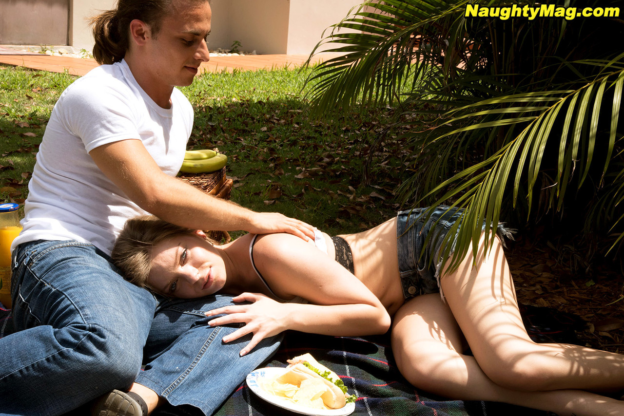 Amateur girl Trisha Parks has sex with a boy after they picnic in the backyard