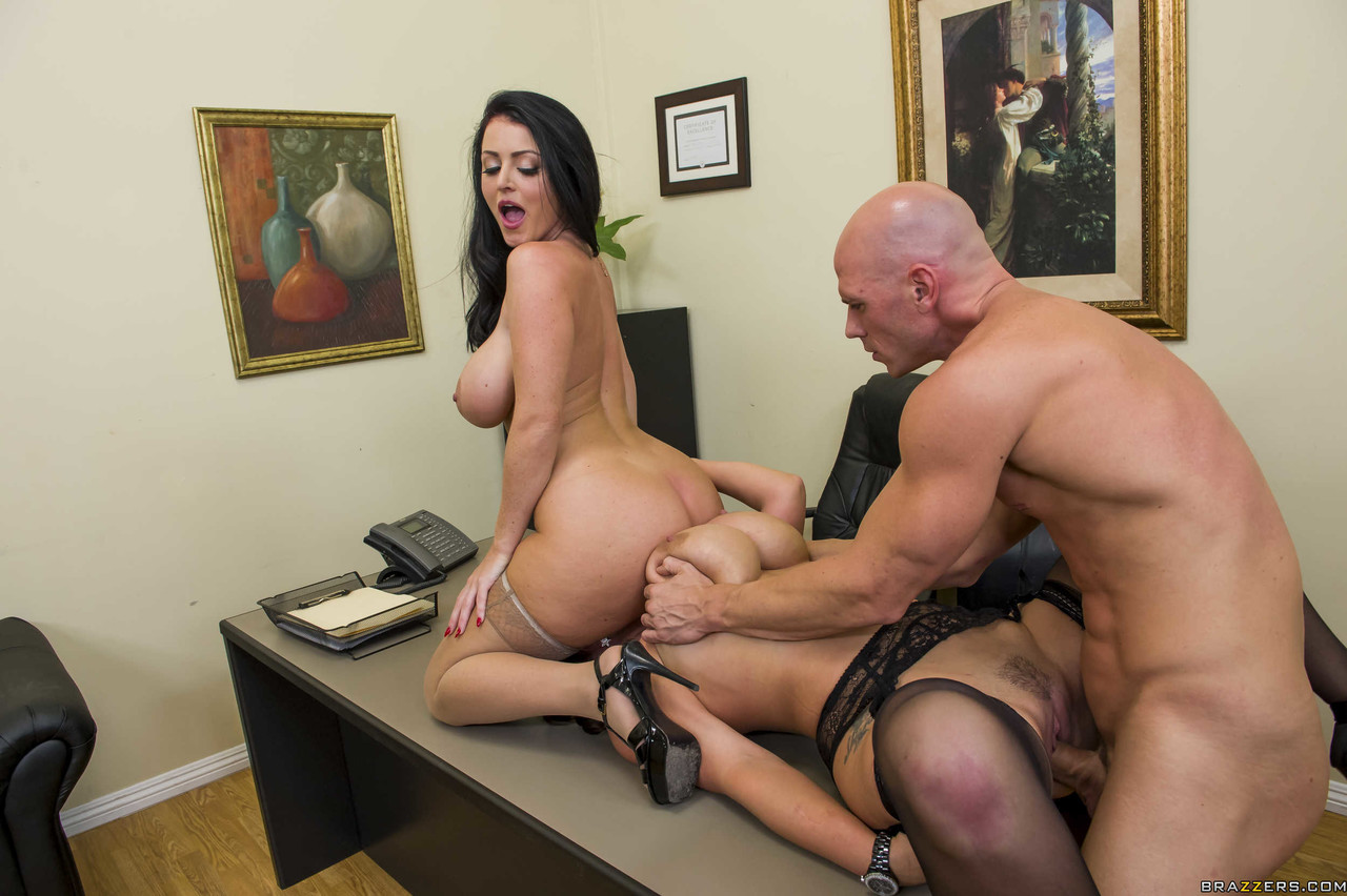 Busty MILFs Sophie Dee Eva Notty get fucked by a job candidate in the office