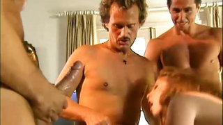 Naughty babe hot gangbang scene from 90s