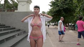 Naughty Lada Sheer bikini on beach