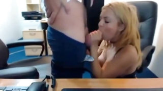 Bulgarian blonde fuck and cum in office