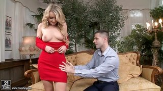 Attractive blonde sucks and receives the pecker directly into anus