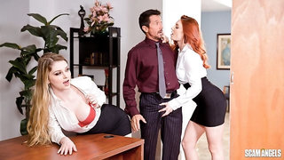 Intense threesome sex in the office