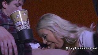 Busty blonde gf bangs bf in cinema