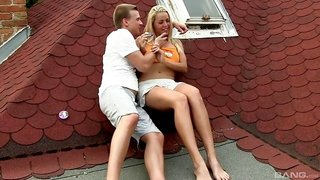 Blonde in shorts hangs out outdoors and fucks a guy