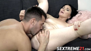 Bigass granny knows how to pleasure a young hung stud