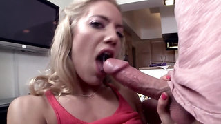 Blonde starlet blows a large schlong and gets properly fucked