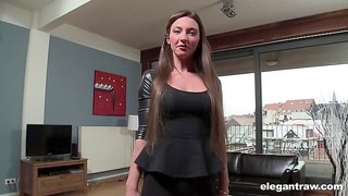 Sexy maid Julie Skyhigh bends over for a black monster prick