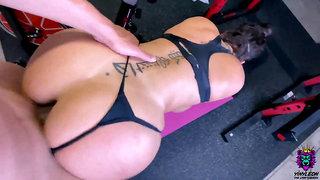 Big Ass brunette gets an intense anal fuck in the gym