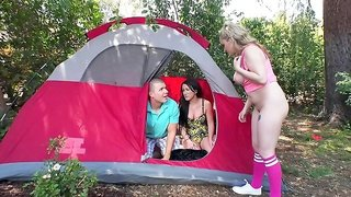 Busty blonde enjoys best friend's cock while camping