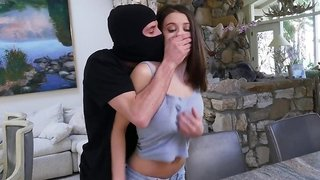 Masked burglar gets a bj & fucks Lana Rhoades on various positions
