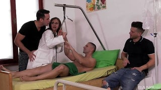 Horny male sticks his dick in the babe's ass while two other lovers gag her