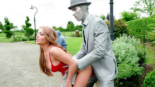 Public passion for a hot woman when fucking a human statue
