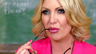 Busty teacher Leigh Darby trying to seduce her student