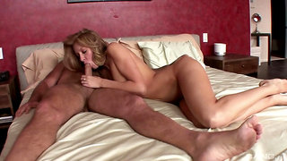 Sensual blonde works older man's big penis until the last drops