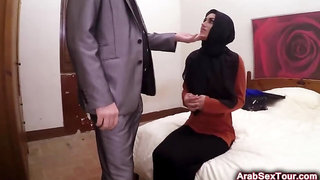 Arab Babe Rides Fat Cock In The Hotel Room