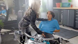 Biker Sally D'Angelo meets Ricky Spanish