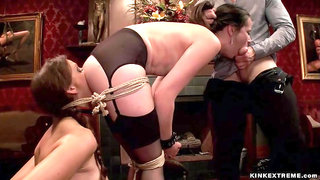 Slaves are humiliated at bdsm party