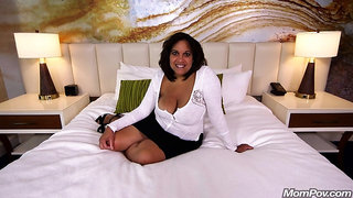 Busty woman is riding a rock hard dick in a hotel room and moaning while cumming