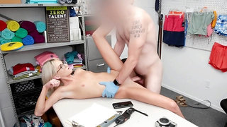 Tallie Lorian in glasses gets her pussy drilled on the desk