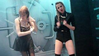 Wetlook girls dancing in the shower room 6