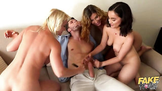 Three girls Rossella Visconti, Shona River and Yasmeena are getting fucked