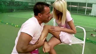 Horny dude fucks hot young German blondie after tennis