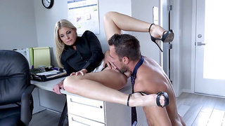 Female boss calls in the new guy for a bit of sex