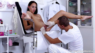 Kinky brunette is spreading her legs, while a horny doctor is licking her shaved, wet pussy