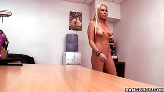 Jaime Appelgate undresses and shows boobs on a casting
