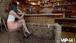 VIP4k. Grey-haired dad makes love to his sons chick in his own bar